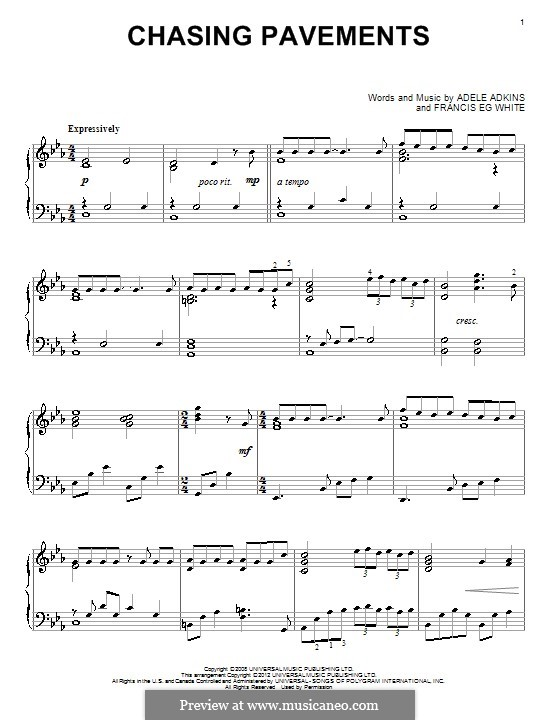 Chasing Pavements By Adele Eg White Sheet Music On Musicaneo