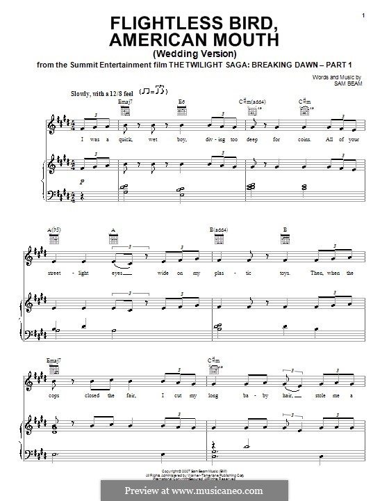 Flightless Bird, American Mouth (Iron & Wine): For voice and piano (or guitar) by Samuel Beam