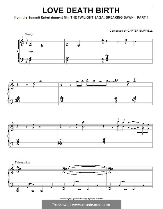 Love Death Birth: For piano by Carter Burwell