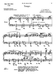 No.2 Tango: For piano by Isaac Albéniz
