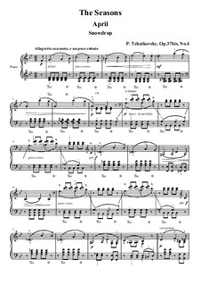 No.4 April (Snowdrop): For piano (high quality sheet music) by Pyotr Tchaikovsky