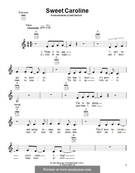 Sweet Caroline: For ukulele by Neil Diamond