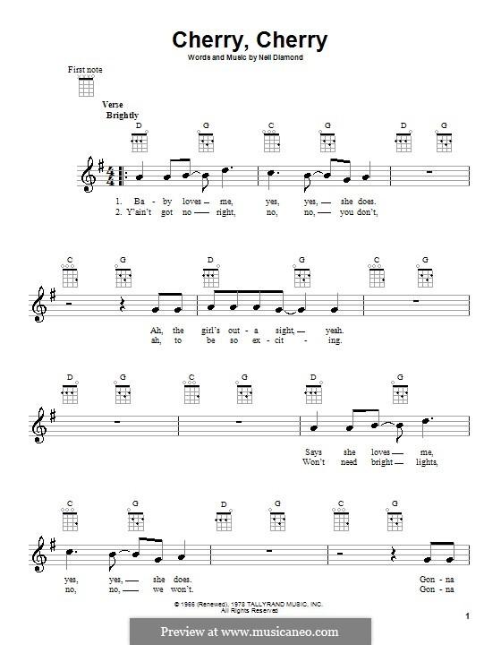 Cherry, Cherry: For ukulele by Neil Diamond