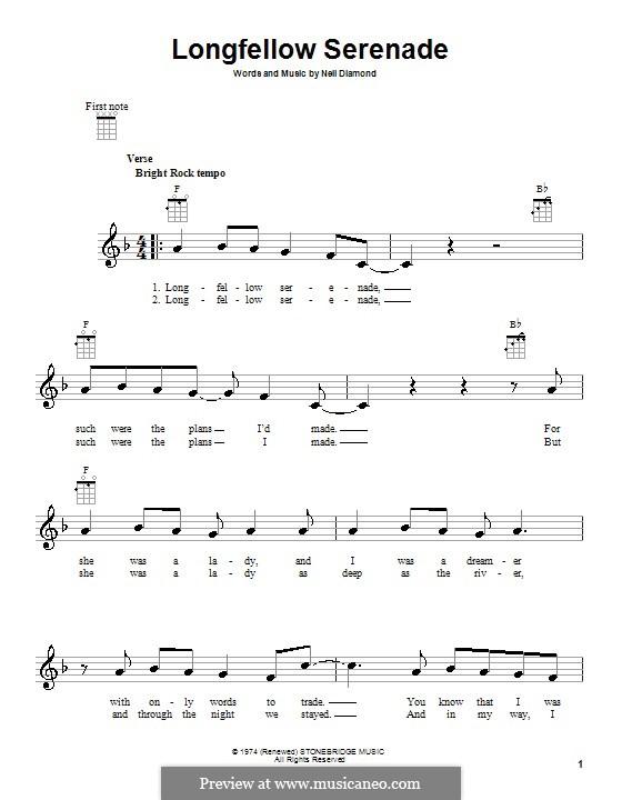 Longfellow Serenade: For ukulele by Neil Diamond