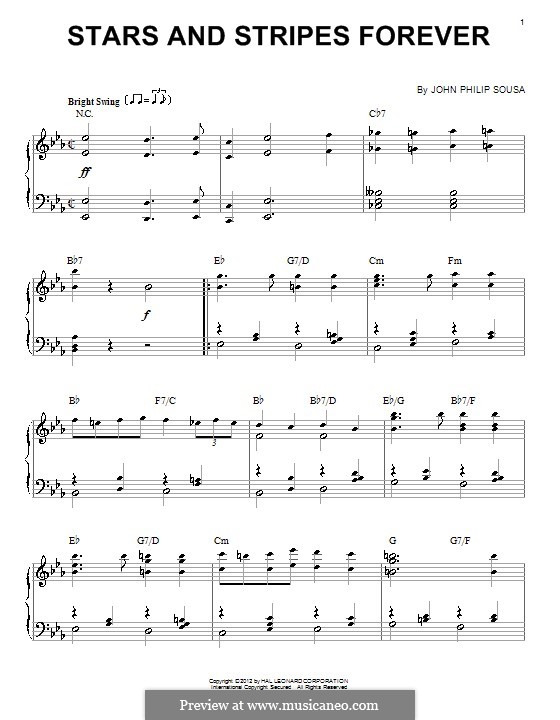 Stars and Stripes Forever : For piano by John Philip Sousa
