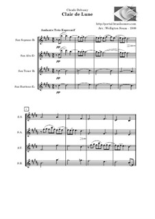 No.3 Clair de lune: For saxophone quartet by Claude Debussy