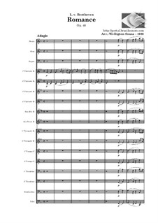 Romance for Violin and Orchestra No.1 in G Major, Op.40: Version for concert band by Ludwig van Beethoven