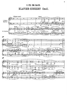Concerto for Piano and Orchestra in C Minor, H 474, Wq 43:4: Arrangement for two pianos four hands by Carl Philipp Emanuel Bach