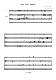 Alle Jahre wieder: For bassoon and organ by Friedrich Silcher