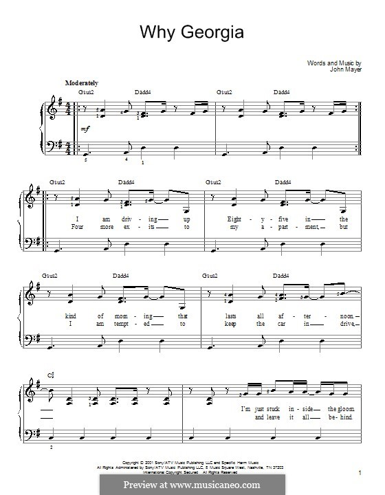 Why Georgia: For piano by John Mayer