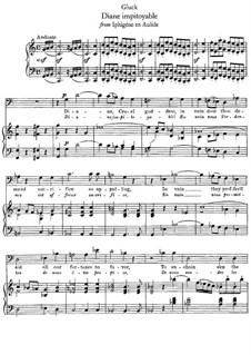 Iphigenia in Aulis, Wq.40: Diane impitoyable, for voice and piano by Christoph Willibald Gluck