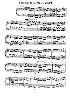 Sonata for Keyboard in B Flat Major, H 2, Wq 62:1: For a single performer by Carl Philipp Emanuel Bach