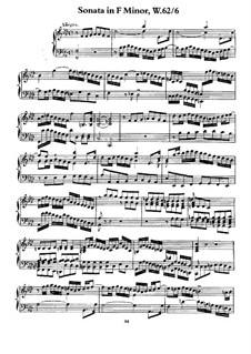 Sonata for Keyboard in F Minor, H 40 Wq 62:6: For a single performer by Carl Philipp Emanuel Bach