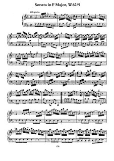 Sonata for Keyboard in F Major, H 58 Wq 62:9: For a single performer by Carl Philipp Emanuel Bach