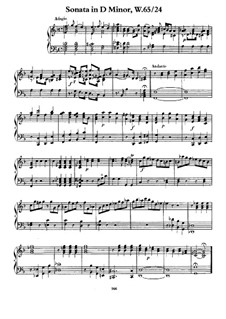 Sonata for Keyboard in D Minor, H 60 Wq 65:24: For a single performer by Carl Philipp Emanuel Bach