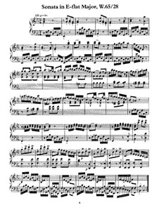 Sonata for Keyboard in E Flat Major, H 78 Wq 65:28: For a single performer by Carl Philipp Emanuel Bach