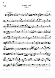 Piano Quartet, H 537 Wq 93: Viola part by Carl Philipp Emanuel Bach