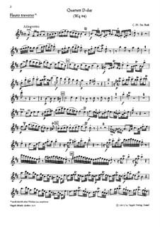 Piano Quartet, H 538 Wq 94: Flute part by Carl Philipp Emanuel Bach