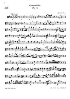 Piano Quartet, H 538 Wq 94: Viola part by Carl Philipp Emanuel Bach