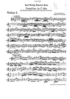 Sonatina for Two Flutes, Strings and Piano in C Major, H 460: Violin I part by Carl Philipp Emanuel Bach