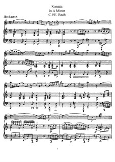 Sonata for Flute and Harpsichord in A Minor, H 555 Wq 128: Score, solo part by Carl Philipp Emanuel Bach