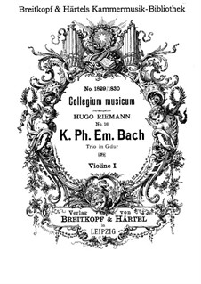 Trio Sonata for Two Violins and Basso Continuo in G Major, H 583 Wq 157: Violin I part by Carl Philipp Emanuel Bach