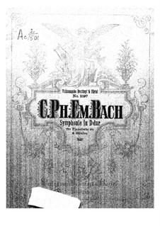 Symphony No.1 in D Major, H 663 Wq 183:1: Version for piano four hands – first part, second part by Carl Philipp Emanuel Bach