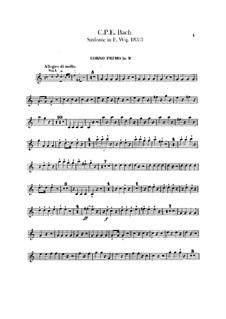 Symphony No.3 in F Major, H 665 Wq 183:3: Horns parts by Carl Philipp Emanuel Bach