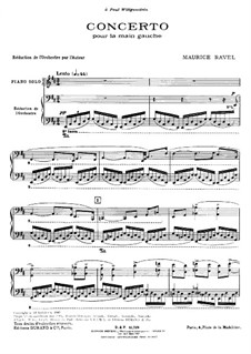Concerto for the Left Hand in D Major, M.82: Arrangement for two pianos by Maurice Ravel