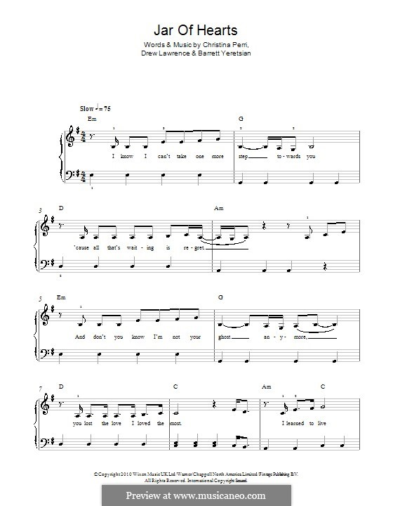 Jar of Hearts: For piano by Barrett Yeretsian, Christina Perri, Drew Lawrence