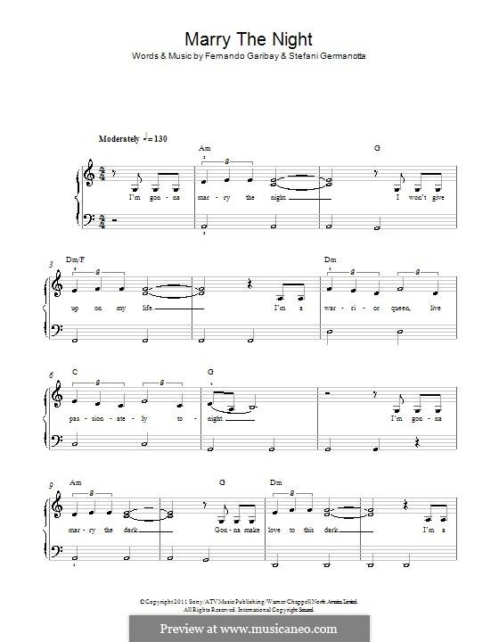 Marry the Night (Lady Gaga): For piano by Fernando Garibay, Stefani Germanotta