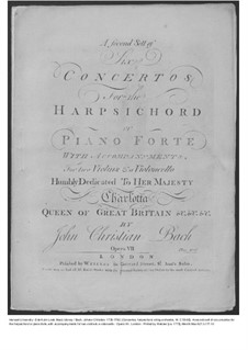 Six Concertos for Harpsichord (or Piano) and Strings, Op.7: Violin I part, W C55-60 by Johann Christian Bach