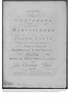 Six Concertos for Harpsichord (or Piano) and Strings, Op.7: Violin II part, W C55-60 by Johann Christian Bach