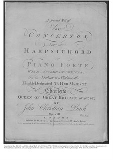 Six Concertos for Harpsichord (or Piano) and Strings, Op.7: Cello and double bass part, W C55-60 by Johann Christian Bach