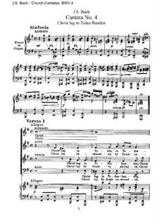 Christ lag in Todesbanden, BWV 4: Piano-vocal score by Johann Sebastian Bach
