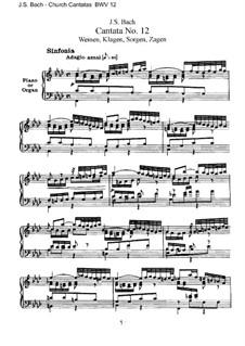 Weinen, Klagen, Sorgen, Zagen, BWV 12: Piano-vocal score by Johann Sebastian Bach