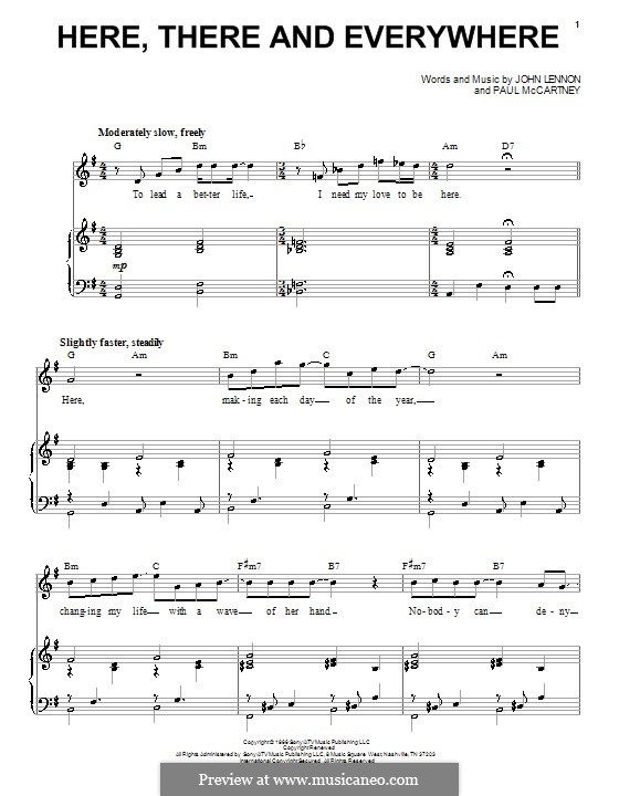 Here, There and Everywhere (The Beatles): For voice and piano by John Lennon, Paul McCartney