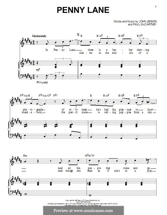 Penny Lane (The Beatles): For voice and piano by John Lennon, Paul McCartney