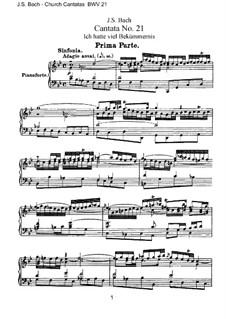 Ich hatte viel Bekümmernis, BWV 21: Piano-vocal score by Johann Sebastian Bach