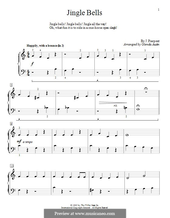 Jingle Bells, for Piano: For a single performer by James Lord Pierpont