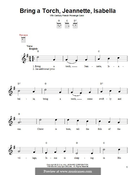 Bring a Torch, Jeannette Isabella: For ukulele by folklore