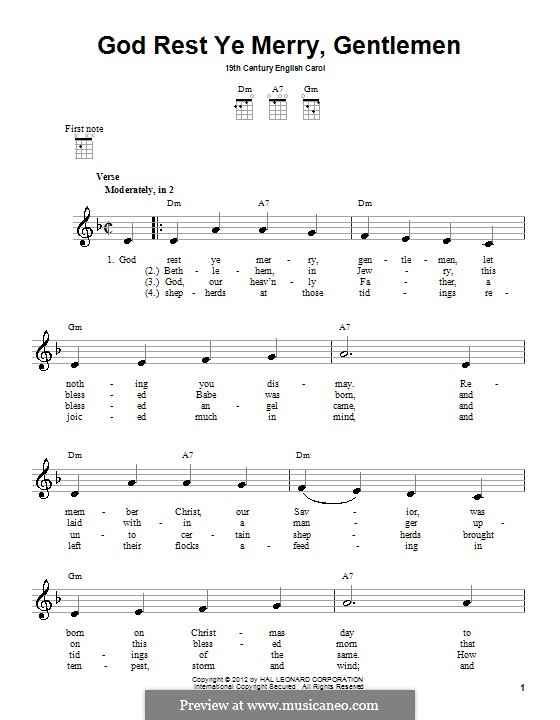 God Rest You Merry, Gentlemen (Printable Scores): For ukulele by folklore