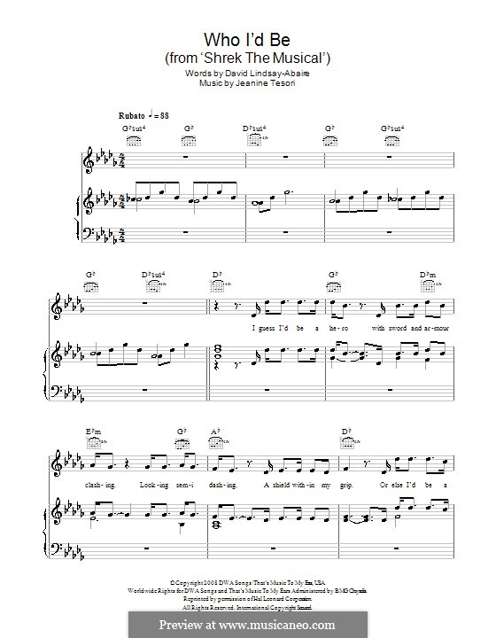 Who I'd Be (from 'Shrek the Musical'): For voice and piano (or guitar) by Jeanine Tesori