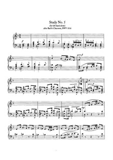 Study No.5 (for left hand alone) after Bach's Chaconne BWV 1016: For piano by Johannes Brahms