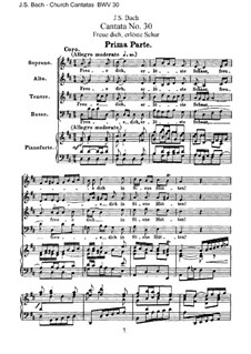 Freue dich, erlöste Schar (Rejoice, Redeemed Host), BWV 30: Arrangement for voices and piano by Johann Sebastian Bach