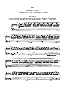 Gaspard de la nuit (Artful Dodger of the Night), M.55: For piano by Maurice Ravel