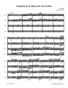 Concerto for Two Cellos and Strings in G Minor, RV 531: Allegro, for cello quartet (four cellos) by Antonio Vivaldi