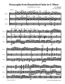 Suite No.7 in G Minor, HWV 432: Passacaglia, for three intermediate cellos (cello trio) by Georg Friedrich Händel