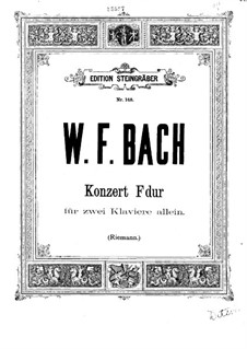 Sonata for Two Keyboards in F Major, BR A 12, F 10: For two pianos by Wilhelm Friedemann Bach
