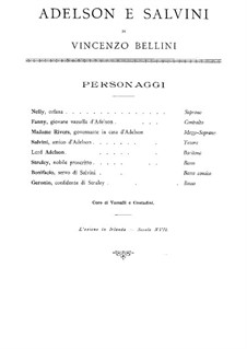 Adelson e Salvini (Adelson and Salvini): Piano-vocal score by Vincenzo Bellini